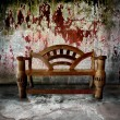 Old room with wooden bench — Stock Photo