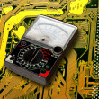 Volt meter on  circuit board — Stock Photo