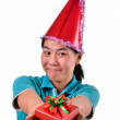 Woman smile and hold gift box in hands — Foto Stock