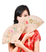 Pretty women with Chinese traditional dress Cheongsam and hole C — Stock Photo