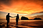 Romantic couple holding hands at sunset on beach — Stock Photo