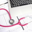 Stethoscope and labtop and other medical object — Stock Photo #47869831