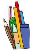 Pencils and pens for school — Foto Stock