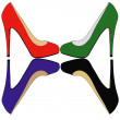 Poker of high-heeled shoes - Stock Photo