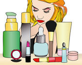 A woman and her beauty products — Stock Photo