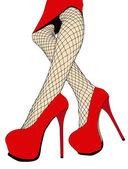 Piękne nogi pończochy kabaretki i buty — Zdjęcie stockowe