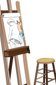 Art workshop - Sketch of naked — Stock Photo