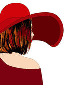 Beautiful girl with red hat — Stock Vector