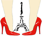 Mode onder de Eiffeltoren - Parijs — Stockvector