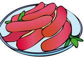 Salsicce arrostite — Vettoriale Stock
