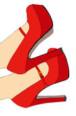 Red shoes and elegant — Stock Vector