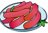 Roasted sausages — Stock Vector