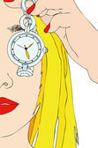 The Girl and the Clock — Stock Vector