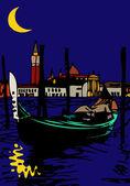 Noche veneciana — Vector de stock