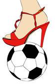 женщины и футбол — Cтоковый вектор