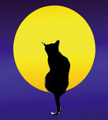 The Cat and the Full Moon — Stock Vector