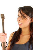A girl full of irony and armed with a hammer 160 — Stock Photo