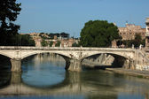 Rome view from the bridge over the Tiber river - Rome - Italy — Stock Photo