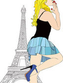 Greetings and Kisses from Paris — Stock Vector