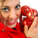 The girl and Christmas balls — Zdjęcie stockowe #6747519