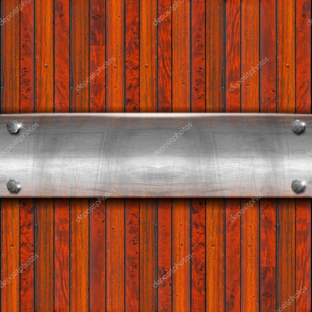 Old metal plate with bolts on wooden vintage background — Stock Photo #12334568