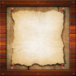 Old Empty Paper in Wood Frame — Foto de Stock