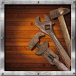Set of Old Tools on Wood Panel — Foto Stock