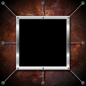 Metal Frame on a Copper Grunge Wall — Stock Photo