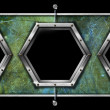 Three Hexagonal Metal Frames on a Grunge Wall — Foto de Stock