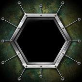 Cadre hexagonal sur le mur de grunge — Photo