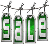 Sale Tags Hanging on White Background — Stock Photo