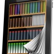 Tablet Pages Bookcase — Stock Photo