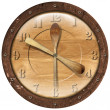 Stock Photo: Wooden Clock Lunch Time