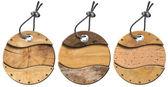 Set of Grunge Circular Wooden Tags - 3 items — Stock Photo