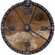 图库照片: Metallic and Wooden Grunge Clock