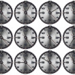 Set of Grunge Metal Clocks — Stockfoto #13287671