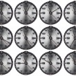 Foto Stock: Set of Grunge Metal Clocks