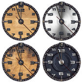 Set of Grunge Clocks — Stockfoto