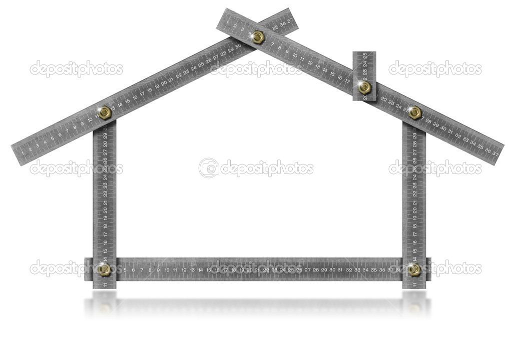 Metal meter tool forming a house with bolts and reflections — Stock Photo #13350949