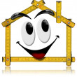 House Smiling - Wood Meter Tool - Stock Photo