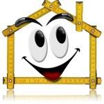 casa sorrindo - ferramenta de medidor de madeira — Foto Stock
