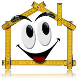 House Smiling - Wood Meter Tool — Stock Photo