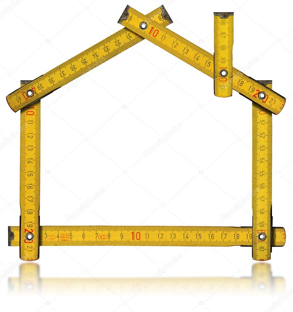 Wooden yellow meter tool forming a house with reflection on white background — Stok fotoğraf #13367060
