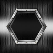 Hexagons Metal Template with hexagonal metal frame — Zdjęcie stockowe
