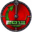 2013 New Year Grunge Clock — Stock Photo