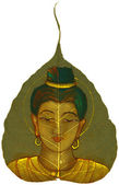 Painting on Peepal Leaf - Young Woman — Stock Photo