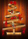 Albero di natale stilizzato e in legno — Foto Stock