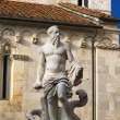 Fountain of Neptune and Carrara Cathedral XII century - Italy - Stok fotoraf