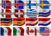 Set of Metal Flags - 16 Items — Foto Stock