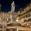 Piazza delle Erbe by Night in Verona Italy - Stock Photo